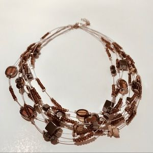 ⭐️5 for 25 ⭐️ Brown and Red Layered Bead Necklace